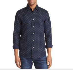NEW • Boss • Button Down Dress Shirt Navy Dots 16